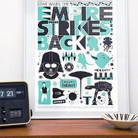 Art/Wall Decor - Star Wars - Retro by handz - Etsy - turquoise, blue, aqua, black, white, poster, kids, boys, play, star wars, art, decor