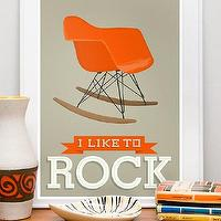 Art/Wall Decor - Eames poster - by handz -Etsy - orange, white. gray, taupe, art, print, poster, modern, mid century, eames, nursery
