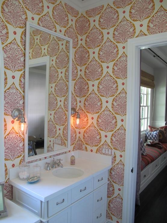 bathroom sconces, moroccan girls bathrooms, katie ridder wallpaper
