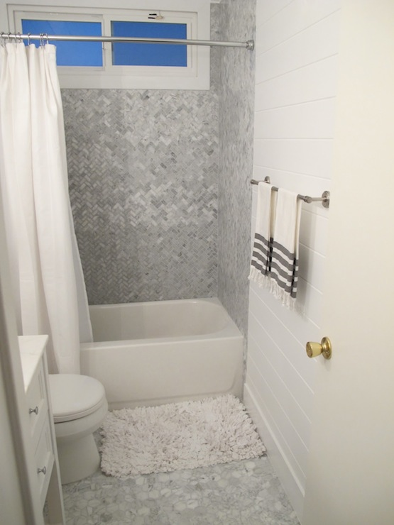 herringbone tile shower  cottage  bathroom  amber interiors