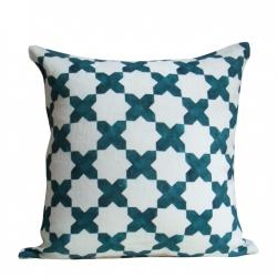 Pillows - Malachite Etoile Pillows - Christen Maxwell.com - linen, modern, pattern, geometric, teal, white, graphic