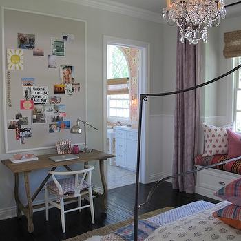 Trestle Desk, Mediterranean, girl's room, Amber Interiors