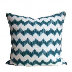 Pillows - Malachite Ziggy Pillows - Christine Maxwell.com - chevron, zigzag, pillow, cream, teal, green, pillow, contemporary, modern