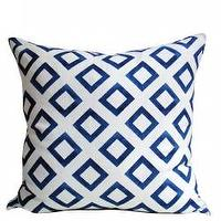 Pillows - Sapphire Corso Pillows - Christine Maxwell.com - blue, cobalt, cream, white, linen, pillow, graphic, modern, contemporary