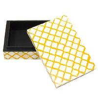 Decor/Accessories - Bojay Inc. Large Bone Box - Sue Fisher King - yellow, cream, trellis, bone, box, decor, jewelry, vanity