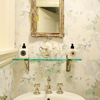Suellen Gregory - bathrooms - ethereal powder room, french powder rooms gorgeous french powder rooms, blue and green floral wallpaper, french floral wallpaper, powder room wallpaper, wallpapered powder rooms, floral wallpapered powder rooms, floral bathroom wallpapers, oval pedestal sink, vintage glass shelf, bathroom glass shelf, venetian mirrors, small venetian mirrors, bathroom venetian mirrors, venetian mirrors in bathrooms, ornate mirror,