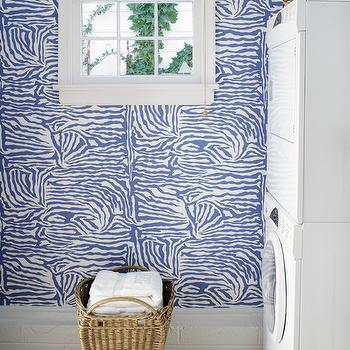 Suellen Gregory - laundry/mud rooms - white and blue laundry rooms, white and blue design, white and blue interior design, stacked washer and dryer, white front-load washer and dryer, white stacked washer and dryer, white and blue zebra wallpaper, zebra wallpaper, blue zebra wallpaper, wallpaper laundry rooms, laundry room wallpaper, zebra printed wallpaper, blue zebra laundry room wallpaper, zebra laundry room wallpaper, Rose Cumming Zebrine Wallpaper,