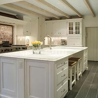 Suellen Gregory - kitchens - unstained wood beams, unstained box beams, kitchen beams, rustic wood beams, wood kitchen beams, rustic wood kitchen beams, blue kitchen ceiling, recessed kitchen lighting, slate tile floor, kitchen slate tiles, slate floor in kitchens, slate kitchen floor, traditional kitchen islands, white kitchen islands, raised panel cabinet doors, farmhouse sink in kitchen island, kitchen island farmhouse sinks, island farmhouse sinks, seagrass counter stools, seagrass island stools, seagrass kitchen island stools, white seagrass stools, white seagrass counter stools, white seagrass island stools, brushed nickel kitchen faucets, gooseneck faucets, brushed nickel gooseneck faucets, white kitchen cabinets, gray glass tiles, gray glass kitchen tiles, gray glass backsplash, gray glass kitchen backsplash, gray glass kitchen tiles, vintage map backsplash, cooktop backsplash, vintage map cooktop backsplash, glass-front fridge, counter-depth glass-front fridge, charcoal slate tile, charcoal slate tile floor, charcoal slate kitchen floor, staggered tile, staggered tile floor, slate staggered tile, slate staggered tile floor,