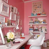 Suellen Gregory - dens/libraries/offices - glossy pink walls, glossy pink paint color, pink office, pink paint color, pink office walls, white crown moldings, tulip armchairs, white desk, eclectic art gallery, collection of white frames, pepto bismol pink, pepto bismol pink paint color, pepto bismol pink walls, peptol bismol pink walls, pepto bismol pink office, office, home office, , Saarinen Tulip Armchair,