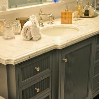 Giannetti Home - bathrooms - custom bathroom cabinets, custom bathroom vanities, dark gray bathroom cabinets, dark gray bathroom vanities, custom panel doors, gray custom panel doors, gray custom cabinet doors, custom cabinet doors, custom bathroom cabinet doors, polished nickel bathroom faucets, vintage bathroom faucets, nickel vintage faucets, nickel bathroom faucets, apothecary jars, vintage apothecary jars, bathroom jars, bathroom apothecary jars, beveled bathroom counters, beveled bathroom countertops, beveled marble counters, beveled marble bathroom countertops, beveled calcutta marble, beveled calcutta marble counters, beveled calcutta marble countertops, gray bathroom cabinets, gray bathroom vanities, gray vanity, gray bathroom vanity, gray cabinets, gray bathroom cabinets,
