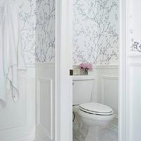 "Jennifer Worts Design - bathrooms - water closet, water closet pocket door, bathroom pocket doors, silver bathrooms, silver wallpaper, silver bathroom wallpaper, twiggy wallpaper, silver twiggy wallpaper, 1"" marble mosaic tiles, mosaic marble bathroom floor, mosaic marble floor tiles, mosaic marble bathroom tiles, metallic wallpaper, silver wallpaper, metallic silver wallpaper, F Schumacher Twiggy Silver Wallpaper,"