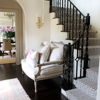 Black Stair Railing, Contemporary, entrance/foyer, Lucy and Company