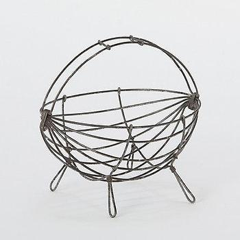 Decor/Accessories - Scoop Wire Basket - Terrain - metal, basket, storage, centerpiece, rustic, black, country,