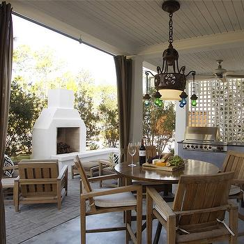 Geoff Chick - decks/patios - patio furniture, teak patio furniture, teak outdoor furniture, covered patios, beadboard ceilings, covered patio ceiling, built-in bbq, patio bbq, moroccan chandeliers, outdoor pendants, stucco fireplace, outdoor fireplace, stucco outdoor fireplace, covered deck,