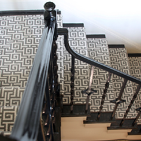 Lucy and Company - entrances/foyers - stairwell, contemporary stairwells, glossy black staircase, black staircase railings, iron spindles, iron staircase spindles, stair runners, gray stair runner, greek key, greek key stair runners, gray greek stair runners,