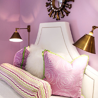 Lucy and Company - girl's rooms - lavender pinks, lavender pink girl's rooms, lavender pink girl's bedrooms, lavender pink paint color, lavender pink walls, lavender pink paint, gold sunburst mirrors, girl's room mirrors, girl's bedroom mirrors, white headboard, headboards with nailhead trim, girl's headboards, white girl's headboards, hollywood regency headboards, white hollywood regency headboards, antique brass sconces, girl's room sconces, girl's bedroom sconces, lavender pink pillows, lavender pink silk pillows, lavender pink bolster pillows, lavender bedroom, lavender girl bedroom, lavender girls bedroom,
