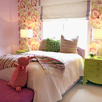 Lucy and Company - girl's rooms - green and lilac, green and lilac girl's bedrooms, wallpaper accent wall, girl's bedroom accent walls, green and lilac floral wallpaper, green and lilac wallpaper, girl's room accent walls, lilac girl's bedroom color, lilac girl's bedroom color, lilac girl's room walls, lilac walls, lilac paint, hammered bookcase, nickel bookcase, girl's room bookcases, girl's bedroom bookcases, girl's room etagere, girl's bedroom etagere, nickel etagere, hollywood regency etagere, fuchsia bedroom bench, geometric pattern bedroom bench, green nightstands, contemporary nightstands, green contemporary nightstands, girl's nightstands, genie lamps, clear glass genie lamps, lilac velvet headboards, lilac velvet beds, girl's headboards, girl's lilac headboards, girl's velvet headboards, girl's lilac velvet headboards, bed in front of window, white roman shades, lilac ribbon trim, girl's room roman shades, girl's room window treatments, bed in front of window, beds in front of window, Horchow Hammered Bookcase, Bungalow 5 Jacqui 3-Drawer Side Table,