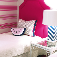 Lucy and Company - girl's rooms - pink and blue, pink and blue girls bedrooms, pink twin headboards, clipped corners headboards, pink clipped corners headboards, pink striped walls, girl's headboards, hot pink girl's headboards, watermelon pillows, pink and blue pillows, pink and blue watermelon pillows, silver trellis pillows, faux bamboo accent tables, white faux bamboo nightstand, white faux bamboo table, white and blue lamps, chevron table lamps, chevron lamps, white and blue chevron lamps, girl's room lamps, girl's bedroom lamps, matelasse bedding, girl's bedding, girl's matelasse bedding, girl's attic bedrooms, vaulted ceiling girl's bedrooms, pink and blue girls room, pink headboard, hot pink headboard, Blue Chevron Lamp, Watermelon Pillow,