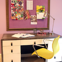 Lucy and Company - girl's rooms - lavender girl's bedrooms, lavender girl's rooms, contemporary lavender girl's rooms, contemporary lavender girl's bedrooms, lavender paint color, lavender girl's room walls, lavender girl's bedroom paint, lavender pin board, lavender bulletin board, gold frame, two-tone desks, two-tone wood desks, contemporary desks, contemporary two-tone desks, yellow desk chairs, yellow plastic desk chairs, lavender and yellow, lavender, lavender bedroom, lavender girl bedroom, lavender girls bedroom, 2 tone desk,
