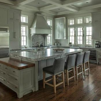 Gray Leather Bar Stools, Cottage, kitchen, Geoff Chick