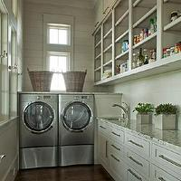 Geoff Chick - laundry/mud rooms - plank walls, laundry room plank walls, plank walls in laundry room, beige plank walls, paint plank walls, tons of storage, laundry room storage, open shelving, laundry room shelving, granite counters, laundry room granite, laundry room granite counters, laundry room granite countertops, laundry room cabinets, laundry room wood floors, silver washer and dryer, front-load washer and dryers, laundry room baskets, longe laundry rooms, narrow laundry rooms, gray laundry room, laundry room cabinets, gray laundry room cabinets,