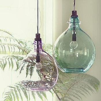 Lighting - Glass Jug Pendant - Terrain - vintage, glass, pendant, wine, jugs, aqua, purple, lilac,