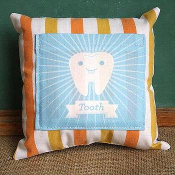 Decor/Accessories - Tooth Fairy Pillow - SparklePower - Etsy - blue, modern, pillow, kids, bedroom, orange, striped, vintage
