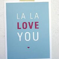 Art/Wall Decor - La La Love You Print - SparklePower - Etsy - blue, pink, modern, art, print, love,