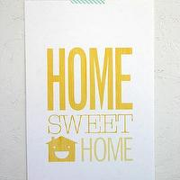 Art/Wall Decor - Home Sweet Home - SparklePower - Etsy - modern, art, poster, yellow, print, home,