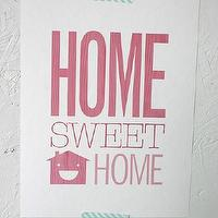 Art/Wall Decor - Home Sweet Home Print - SparklePower - Etsy - poster, art, giclee, pink, home, decor, print