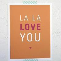 Art/Wall Decor - La La Love You Print - SparklePower - Etsy - orange, pink, love, heart, kids, playrom, modern, bedroom, art, print,