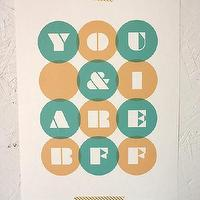Art/Wall Decor - You And I Are BFF Print - SparklePower - Etsy - orange, turquoise, poster, art, giclee, modern,