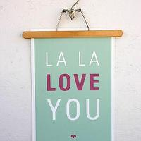 Art/Wall Decor - La La Love You Poster - SparklePower - Etsy - aqua, art, poster, love, magenta, pink,