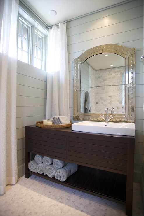 blue and brown bathroom  contemporary  bathroom