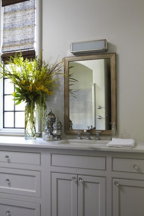 Mercury Glass Bathroom Accessories Transitional Bathroom Tracery Interiors