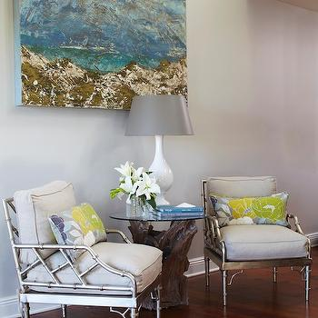 Silver Bamboo Chairs, Cottage, living room, Tracery Interiors