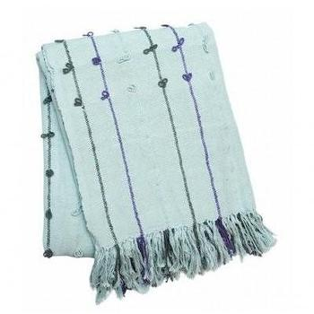 Decor/Accessories - one sydney road - tufted cotton blanket - blue, green, blanket, cotton, hand-woven, striped, fringe, tufted