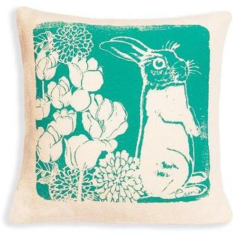 Pillows - one sydney road - bunny boo pillow - screened, vintage, reproduction, barkcloth, green, turquoise, bunny, rabbit, pillow,