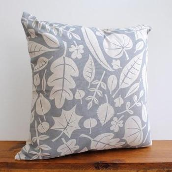 Pillows - one sydney road - leaves pillow - gray, pillow, leaf, graphic, floral, contemporary, cotton, linen, leaves