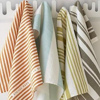Decor/Accessories - one sydney road - just stripes tea towel - linen, cotton, tea, towels, green, blue, orange, taupe, striped,