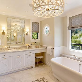 Quatrefoil Chandelier, Transitional, bathroom, Benjamin Moore Titanium, Polsky Perlstein Architects