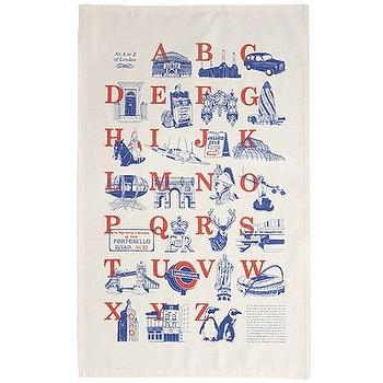 Decor/Accessories - one sydney road - an a to z of london tea towel - vintage, cotton, reproduction, tea, towel, red, blue, alphabet,