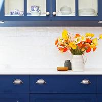 Arent &amp; Pyke - kitchens - glass-front cabinets, glass-front kitchen cabinets, white kitchen countertops, white countertops, contemporary blue kitchens, cobalt blue kitchen cabinets, inset kitchen cabinets, cobalt blue inset kitchen cabinets, white glass kitchen tiles, white glass tiles, white glass kitchen backsplash, white glass backsplash tiles, blue cabinets, blue kitchen cabinets,