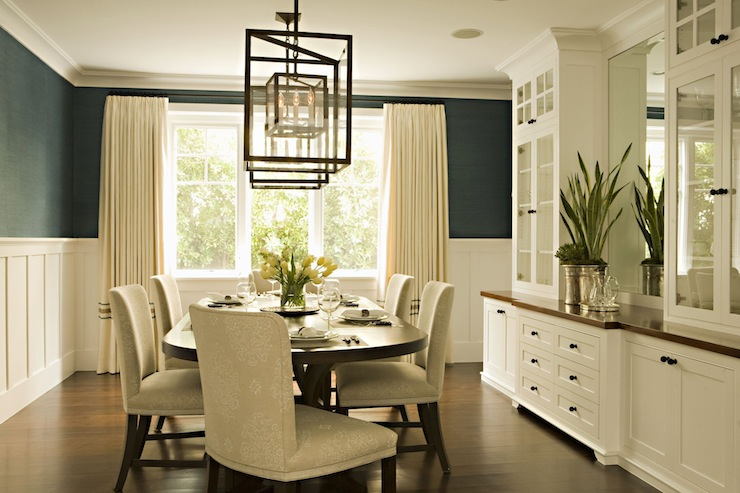 Board and Batten PJ - Transitional - Eating room - Cream Elegant Dining Room Wallpaper