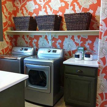 laundry/mud rooms - laundry room cabinets, green laundry room cabinets, hunter green laundry room cabinets, cottage laundry room cabinets, laundry room baskets, orange floral wallpapered laundry rooms, floral wallpapered laundry rooms, orange wallpapered laundry rooms, laundry room wallpaper, floral laundry room wallpaper, orange laundry room wallpaper, orange floral laundry rooms, silver washer and dryer, corian counters, corian countertops, orissa wallpaper, cypress orissa wallpaper, orange and green laundry room, green and orange laundry room, Thibaut Cypress Orissa Wallpaper Orange,