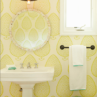 Bonesteel Trout Hall - bathrooms - yellow bathrooms, sunny yellow bathrooms, leaf wallpaper, yellow leaf wallpaper, capiz mirrors, round capiz mirrors, round bathroom mirrors, white pedestals sinks, oil-rubbed bronze, oil-rubbed bronze fixtures, oil-rubbed bronze bathrooms, oil-rubbed bronze bathroom sconces, towel racks, oil-rubbed bronze towel racks, rope stools, green rope stools, ming green, ming green rope stool, s ming green bathroom stools, ming green garden stools, yellow and green, yellow and green bathrooms, katie rider wallpaper, yellow leaf wallpaper, leaf wallpaper, yellow leaf wallpaper, Katie Ridder Leaf Wallpaper,