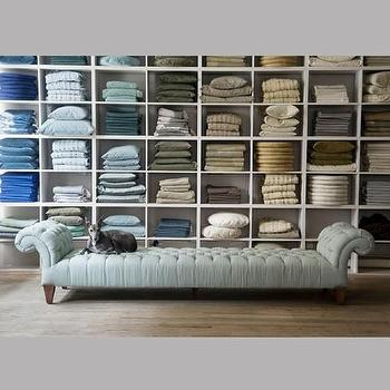 Seating - canvas - Chesterfield Chaise - low, Chesterfield, chaise, tufted, traditional, nailhead, sea, blue, green, light
