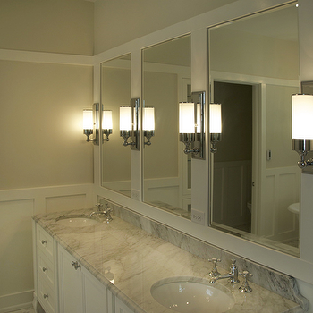 Scott Lyon & Company - bathrooms - beige bathrooms, framed bathroom mirrors, white framed bathroom mirrors, contemporary bathroom sconces, his and her sinks, white bathroom cabinets, marble countertops, double sinks, white board and batten, white bathroom board and batten, white board and batten walls, glass bathroom cabinets, board and batten, bathroom board and batten, Urban Archaeology Loft Light Sconce,