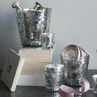 Decor/Accessories - canvas - Silver Antique Gamla Set - votive, candle, holders, silver, antique, glass, embossed,