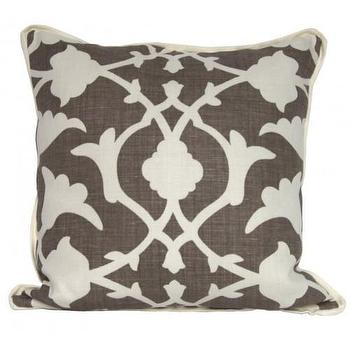 Pillows - poetical throw pillow - Oomphonline - taupe, gray, trellis, floral, pillow, contemporary, modern,